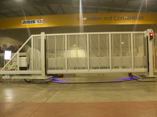Crash Rated Cantilevered Gate in testing at the Cova Security Gates factory