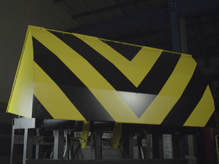 Crash tested road blocker being tested in our factory - where we manufacture
