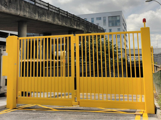 Crash rated folding gates withstanding impacts of up to 40mph or 50mph