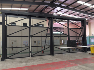 Car park gate being manufactured